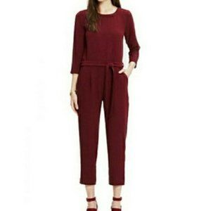Madewell Sloan Burgundy Maroon Belted Jumpsuit 4
